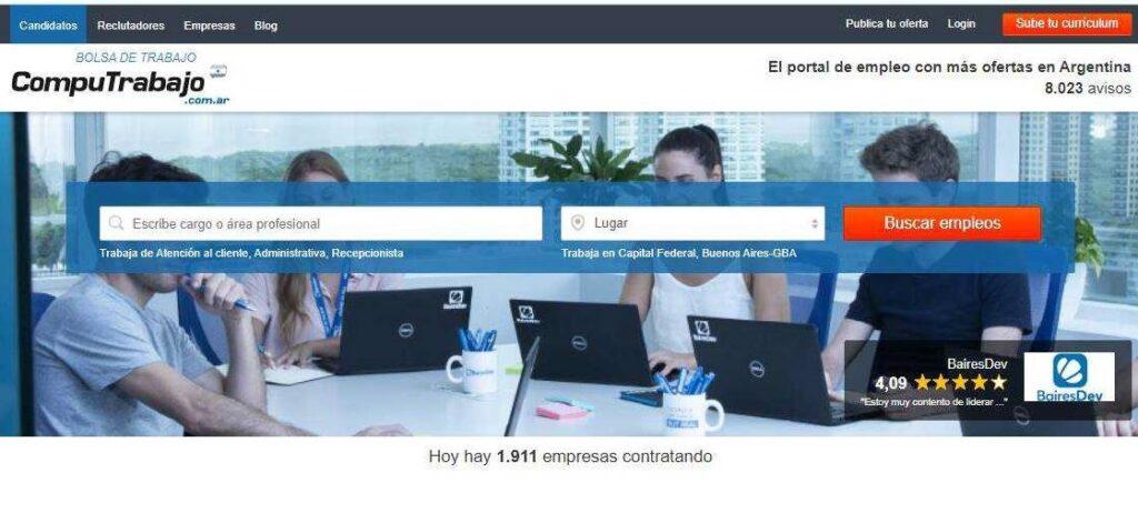 Entre las 15 Páginas  para conseguir trabajo en Argentina