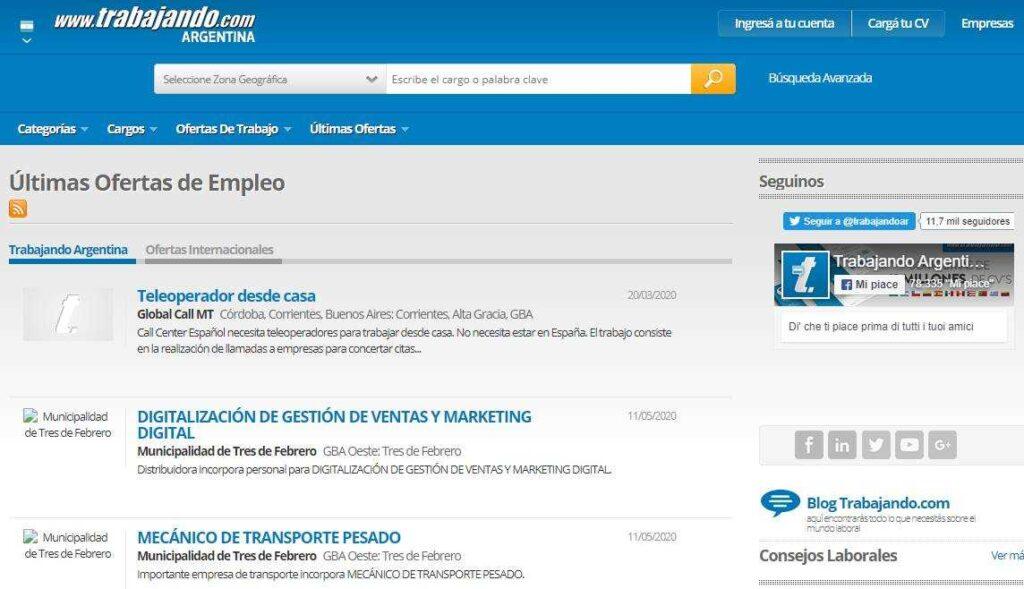 TrabajandoARG ofertas de trabajo en Argentina